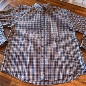 Nordstrom Blue Plaid Wrinkle Free Button Down L